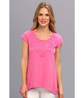Mod o doc Classic Jersey S/S Raw Edge Applique Tee Womens Short Sleeve Pullover (Pink)