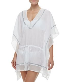 Womens Global Chic Embellished Voile Caftan Coverup   La Blanca   White (LARGE)