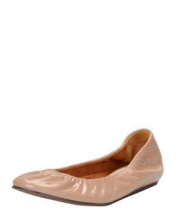 Patent Leather Ballerina Flat, Nude   Lanvin   Nude (37.0B/7.0B)