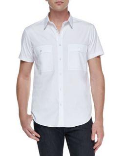 Mens Milhouse Exclusive Short Sleeve Shirt, White   Theory   White (MEDIUM)