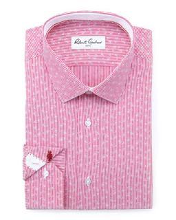 Mens Gene Mini Paisley Dress Shirt, Berry   Robert Graham   Berry (15)