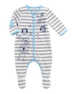Baby Boys Striped Footie, Gray, 3 18 Months   Little Marc Jacobs