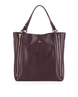 Nouveau Leather Tote Bag, Plum   Pour la Victoire