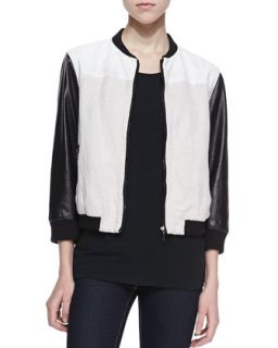 Womens Tumble Weed Faux Leather Sleeve Baseball Jacket   Blank   White/ blk