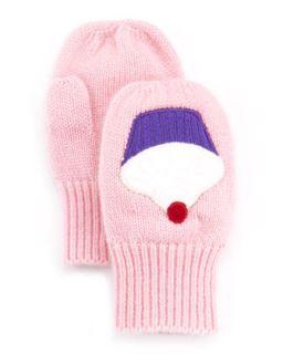 Toddler Girls Cashmere Cupcake Mittens, Pink   Portolano   Pnk/Ma (9M 12M)