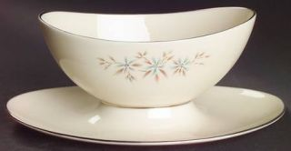 Lenox China Wyndcrest Gravy Boat with Attached Underplate, Fine China Dinnerware
