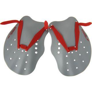 SPEEDO Contoured Swim Paddles   Size: Medium, Grey/red
