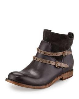 Emma Stud Strap Flat Boot, Anthracite   Alberto Fermani   Anthracite/Fango (40.