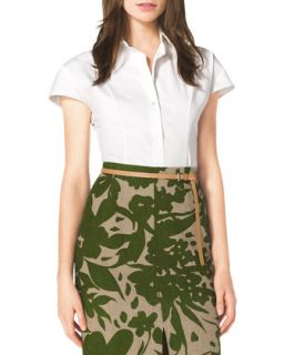 Womens Stretch Cotton Shirt   Michael Kors   Opticwhite/Indigo (8)