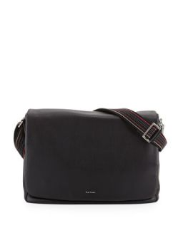 Mens Striped Strap Messenger Bag, Black   Paul Smith   Black