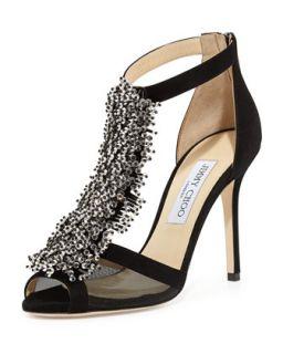 Feline Beaded T Strap Sandal, Black   Jimmy Choo   Black (38.5B/8.5B)