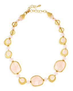 Short Light Pink Quartz Necklace   Jose & Maria Barrera   Light pink (ONE SIZE)
