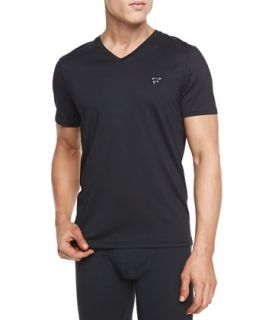 Mens Mesh V Neck Tee   Frigo   Black (XXL)
