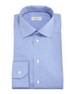 Mens Mini Gingham Dress Shirt, Blue   Eton   Blue (16 1/2)