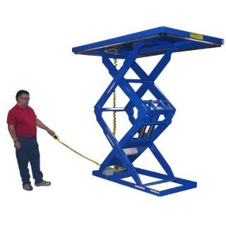 "Beacon Double Scissor Lift Table; Vertical Travel: 60""; Platform Width: 34""   48""; Platform Length: 48""   72""; Capacity (LBS): 1, 000; Raised Height: 70""; Lowered Height: 10""; Travel Time (Sec.): 7; Model# BEHLTD 34484872"