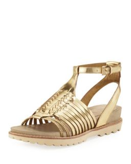 Karma Metallic Huarache Sandal, Golden   Eileen Fisher   Golden (38.5B/8.5B)