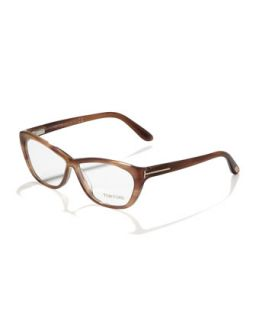 Crossover Cat Eye Fashion Glasses, Shiny Brown/Rose Golden   Tom Ford   Srp