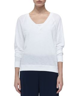 Womens Longsleeve V Neck Tee, White   Vince   White (X SMALL)