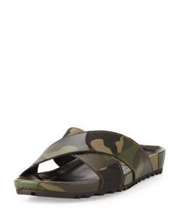 Mens Patchwork Camo Crisscross Sandal   Valentino   Green (46/13D)