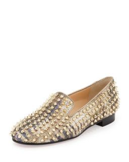 Rolling Spikes Glitter Loafer, Light Gold   Christian Louboutin   Lt gold (39.