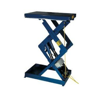 "Beacon Double Shorty Scissor Lift table; Vertical Travel: 41""; Platform Width: 34""   48""; Platform Length: 36""   48""; Capacity (LBS): 5, 000; Raised Height: 51""; Lowered Height: 10""; Travel Time (Sec.): 16; Model# BEHLTSD"