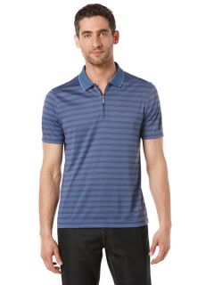 Perry Ellis Mens Quarter Zip Textured Polo