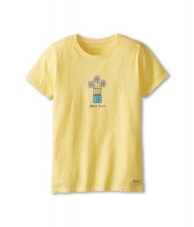 Life is good Kids Half Full Flowers Crusher Tee Girls T Shirt (Yellow)