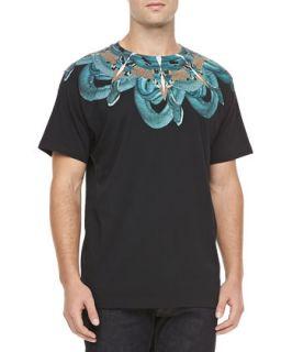 Mens Snake Print Tee, Black/Turquoise   Marcelo Burlon   Black (LARGE)