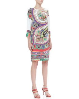 Womens Three Quarter Sleeve Paisley Shift Dress   Etro   Open multi (46/12)