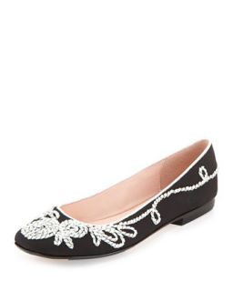 Bubka Embroidered Ballerina Flat, Black   Taryn Rose   Black (41.0B/11.0B)