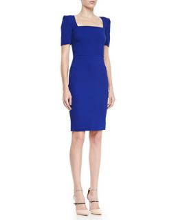 Womens Parabia Square Neck Peaked Shoulder Dress, Electric Blue   Roland