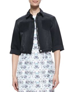 Womens Joey Cropped Denim Jacket   Theyskens Theory   Slate (LARGE)