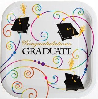 Congratulations Graduate Graduation Paper Plates 8 Count 9 Inch Square: Toys & Games