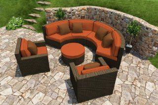 Forever Patio Hampton Radius 5 Piece Modern Patio Sectional Set with Burnt Orange Sunbrella Cushions (SKU FP HAMR 5SEC CH CR)  Patio Sofas  Patio, Lawn & Garden