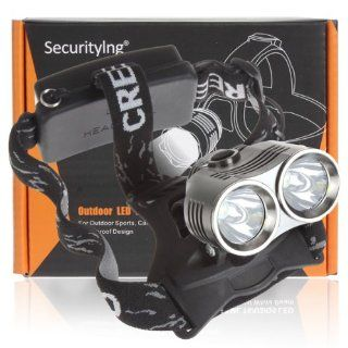 SecurityIng� 2 x CREE XM L T6 LED 3 Mode 1800LM Headlamp, CREE LED Lamp Headlight with Adjustable Base (No Battery)