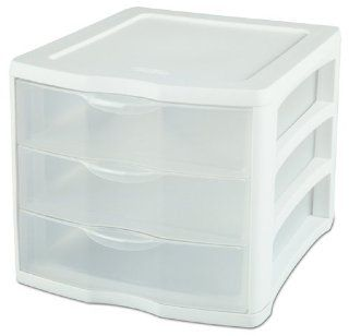 Sterilite 17918004 3 Drawer Clear View Unit with White Frame and See Through Drawers, 4 Pack   Storage Drawer Units