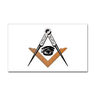 CafePress Square and Compass with all seeing eye Sticker Re Sticker Rectangle   Standard   Wall Decor Stickers