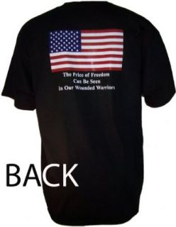 THE PRICE OF FREEDOM CAN BE SEEN IN OUR WOUNDED WARRIORS Mens BACK Print T Shirt. $10 American Vet donation per shirt! (Medium, Black): Clothing