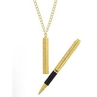 1928 Jewelry 1960s Vintage Inspired Gold Tone Pen Necklace as seen on Julie Benz   Mad Men Joan Holloway: Jewelry