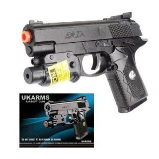 "UKARMS M K068 AIRSOFT LEATHAL WEAPON TYPE GUN (BLACK OR 2 TONE  COLOR SENT AT RANDOM) FPS140 SIZE 6.5"" WITH LASEr: Toys & Games"