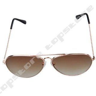 UB Classic Aviator Sunglasses: Gold Frame with Brown Reflective Lens: Clothing
