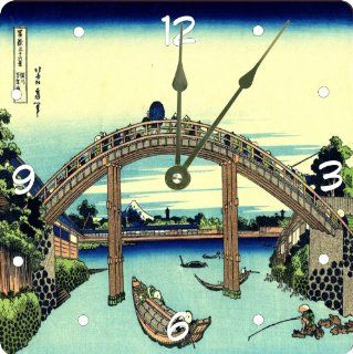 "Rikki KnightTM Katsushika Hokusai Art Fuji seen throught eh Mannen Bridge Design 13"" Art Wall Clock"