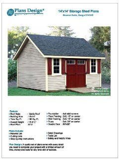 14' x 14' Reverse Gable Roof Style Shed Plans Design # D1414G, Material List and Step By Step Included   Woodworking Project Plans