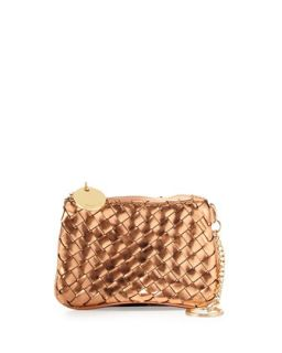 Sunset Woven Key Ring Pouch, Rose Gold