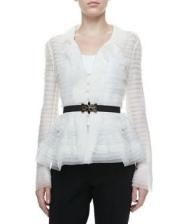 Womens Long Sleeve Tiered Peplum Blouse, Ivory   Oscar de la Renta   Ivory (10)