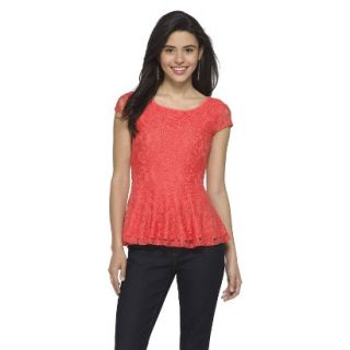 Juniors Lace Peplum Top   Hot Coral M