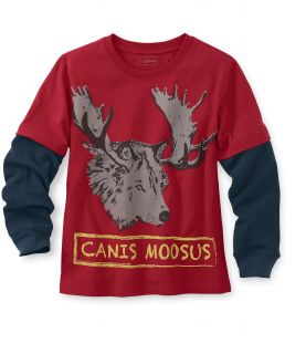Boys Double Layer Graphic Tee, Canis Moosus Little Boys