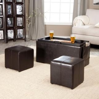 Hartley Coffee Table Storage Ottoman with Tray   Side Ottomans & Side Pocket