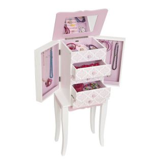 Mele Co Louisa Girls Pink and White Wooden Jewelry Armoire