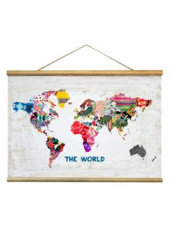 Hipster Mapa Mundi (Canvas Tapestry) by Oliver Gal